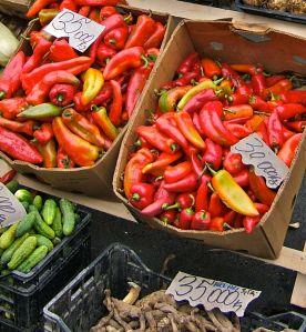 Sun-kissed red peppers in the market of Zarnesti, Transylvania