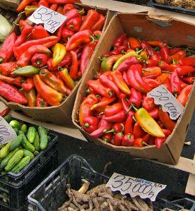 Sun-kissed red peppers in the market of Zarnesti, Transylvania