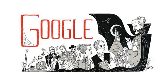Google's doodle for 8 November 2012, the 165th anniversary of Bram Stoker's death