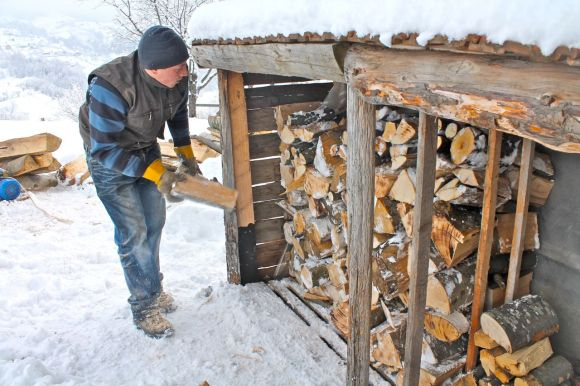 log stack, wood pile, wood-burning stove, central heating, winter, cold, Magura Transylvania