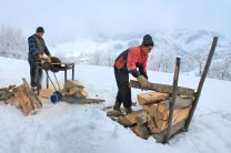 wood, wood-burning stove, winter, Magura Transylvania, Romania, neighbours, circular saw
