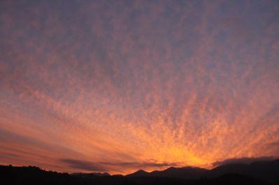Clouds, cirrus, Carpathians, mountain sunset, red sky at night, shepherd's delight, Romania, Transylvania, Brasov county