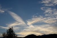 Cloud pictures, cloud spotting, is it an elephant? sunset, blue skies, mountains, Magura, Transylvania, Romania