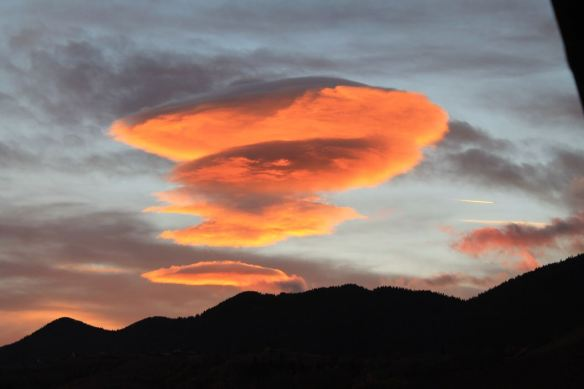 Clouds, lenticular cloud, Magura Transylvania, Romania, sunset,