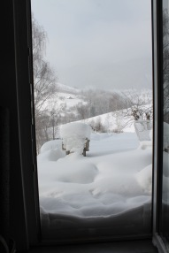 If there's wind as well as snow, the drifts can climb at least halfway up the kitchen door...